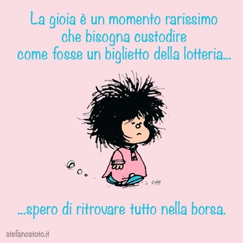 Mafalda e la gioia come la lotteria